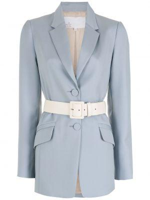 Шерстяной синий классический пиджак с поясом Nk