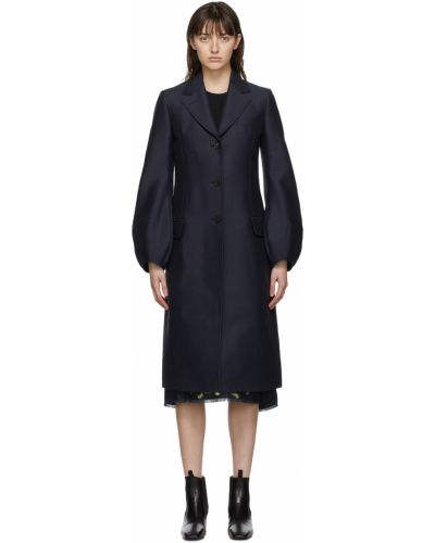 Черное длинное пальто Lanvin