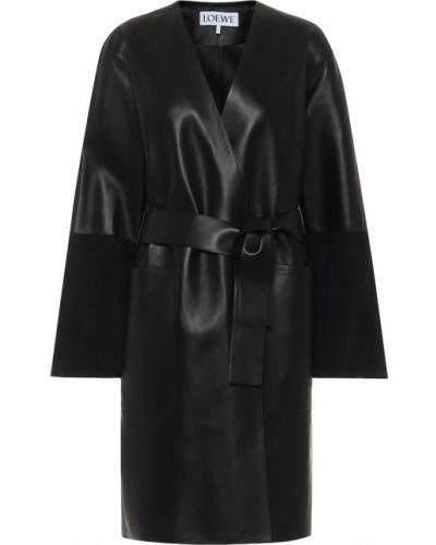 Черное кожаное пальто из натуральной кожи Loewe