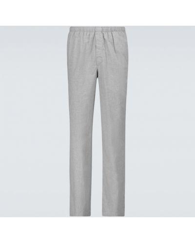Прямые пижамные хлопковые брюки Sunspel