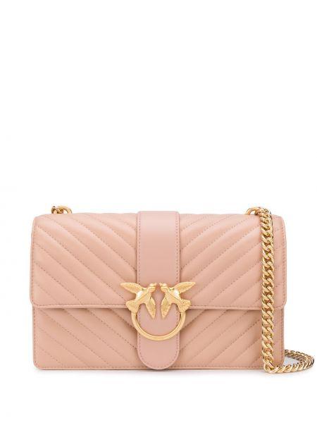 Стеганая розовая кожаная сумка на цепочке Pinko