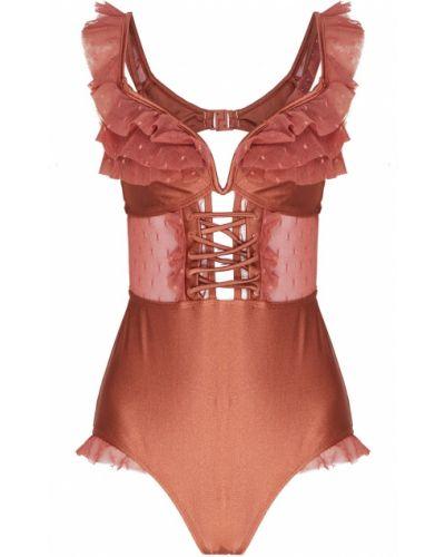 Слитный купальник розовый с оборками Zimmermann