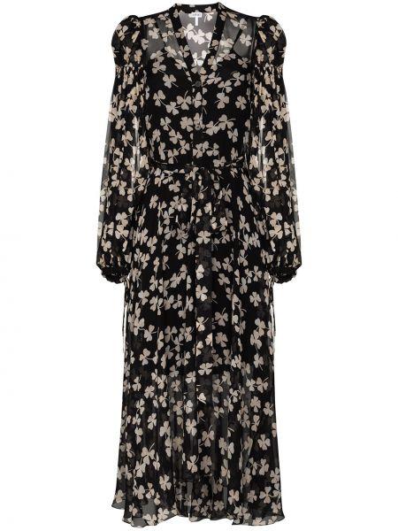 Расклешенное шелковое платье на пуговицах с V-образным вырезом Loewe