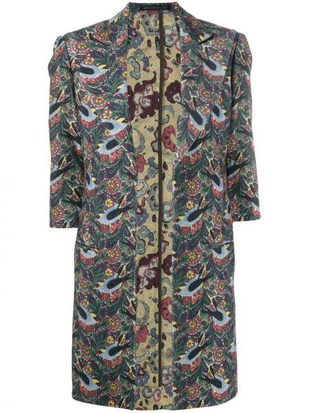 Зеленое открытое шерстяное пальто с рукавом 3/4 Yohji Yamamoto Pre-owned