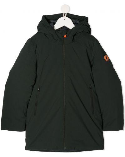 С рукавами черное пальто классическое с капюшоном Save The Duck Kids