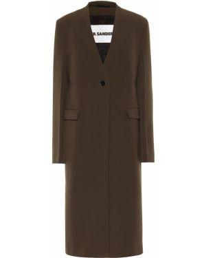 Пальто зеленое шерстяное Jil Sander