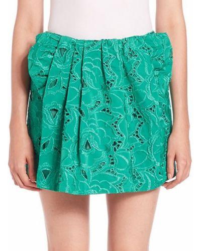 Ажурная зеленая плиссированная юбка мини N° 21