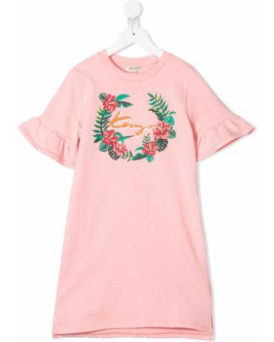 Różowa sukienka mini krótki rękaw bawełniana Kenzo Kids