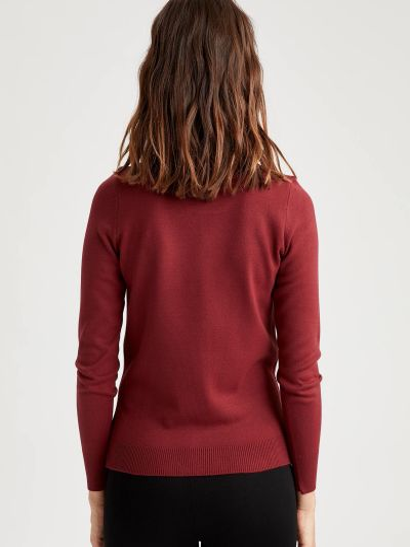 Красный свитер с вырезом круглый Defacto