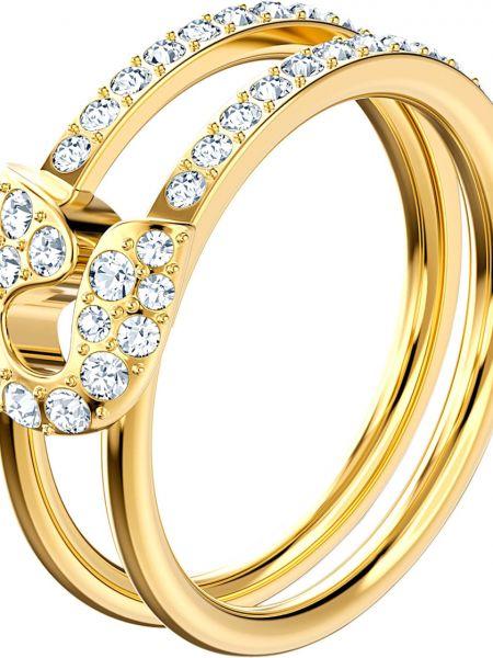 Золотистое белое кольцо металлическое с декоративной отделкой Swarovski