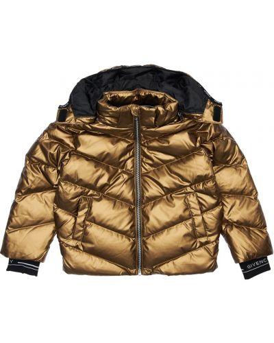 Пуховая куртка с капюшоном золотая Givenchy