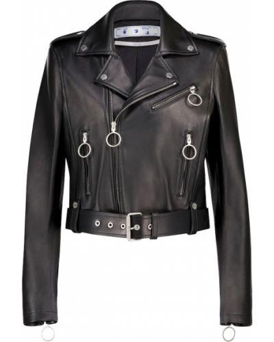 Черная кожаная куртка байкерская Off-white