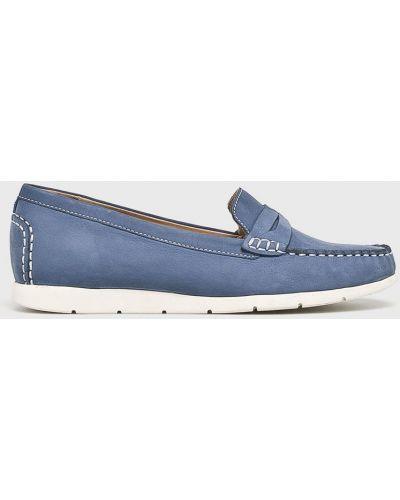 Мокасины кожаные синие Caprice
