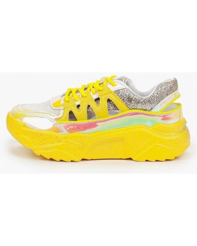 Лаковые желтые кожаные кроссовки Sergio Todzi