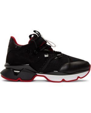 Кожаные кроссовки черные замшевые Christian Louboutin