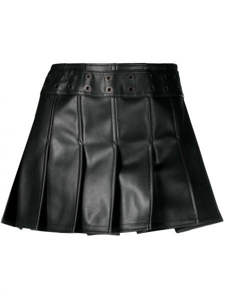 Pofałdowany skórzany czarny spódnica mini z klamrą Junya Watanabe