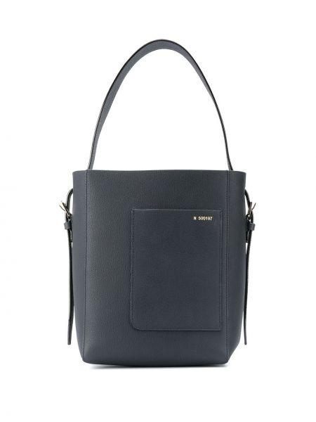 Замшевая синяя сумка на плечо с карманами Valextra