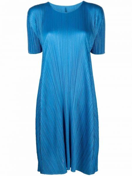 Платье короткое - синее Pleats Please Issey Miyake
