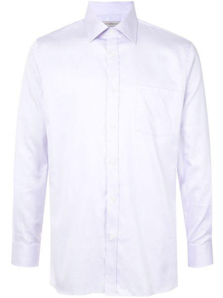 Fioletowa klasyczna koszula bawełniana z długimi rękawami Gieves & Hawkes