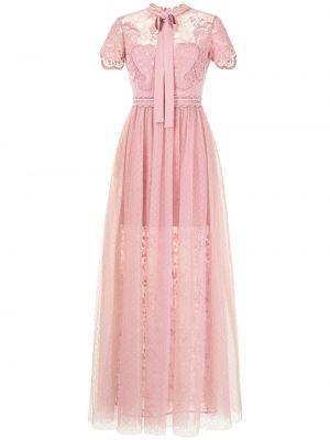 Платье макси длинное - розовое Elie Saab