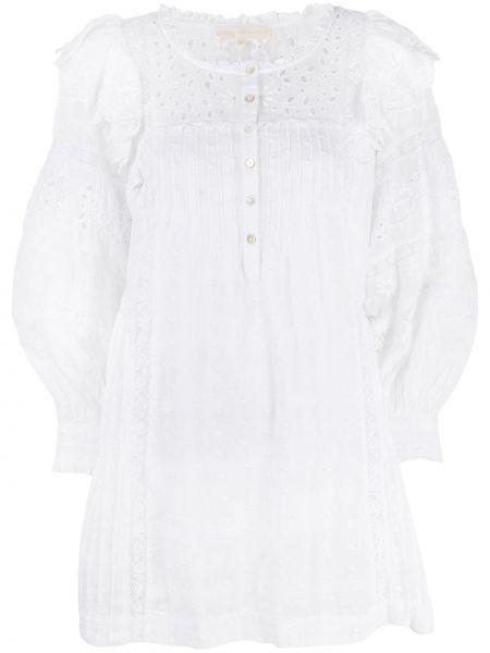 Кружевное с рукавами белое платье мини Loveshackfancy