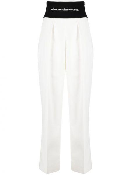 Białe spodnie z wysokim stanem bawełniane Alexander Wang