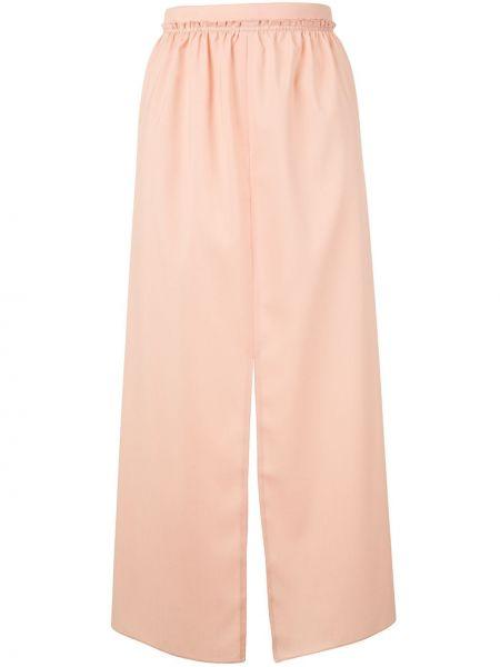 Розовая с завышенной талией юбка миди с разрезом в рубчик Maison Rabih Kayrouz