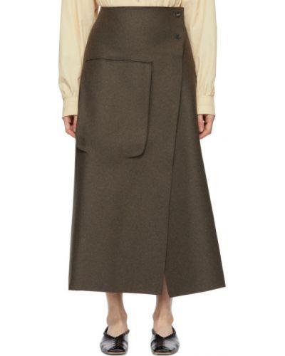 Зеленая шерстяная юбка с карманами с заплатками Studio Nicholson