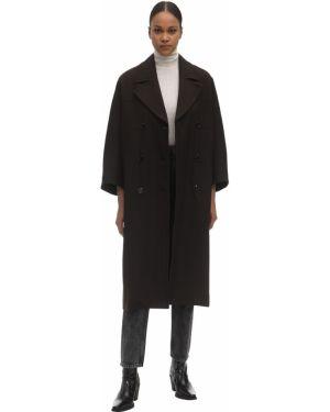 Коричневое пальто двубортное с карманами Ganni
