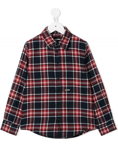 Красная с рукавами рубашка в клетку Dsquared2 Kids
