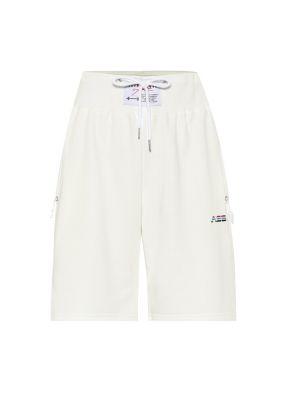Ватные хлопковые однобортные белые спортивные шорты Adam Selman Sport
