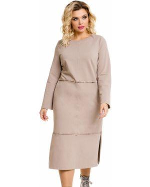 Прямое платье миди с вырезом круглое из футера Novita