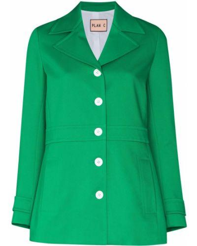 Хлопковый зеленый пиджак с изумрудом Plan C