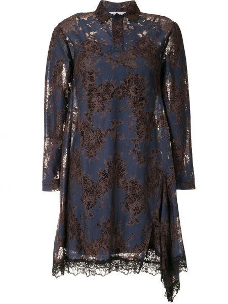 С рукавами кружевное синее платье макси Koché