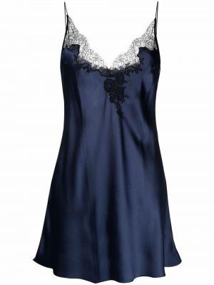 Сатиновое синее кружевное платье на бретелях Carine Gilson