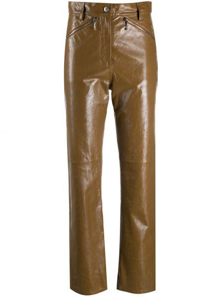 Кожаные коричневые прямые брюки с высокой посадкой Alexa Chung