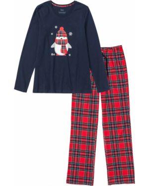 Пижама с брюками в клетку с длинными рукавами Bonprix