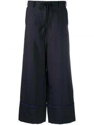 Шерстяные черные укороченные брюки свободного кроя Marni