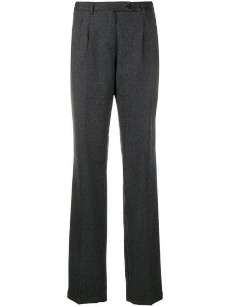 Шерстяные серые расклешенные брюки с карманами Massimo Alba