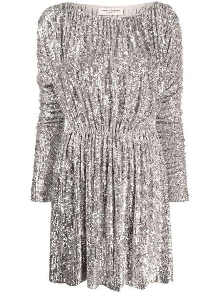 Платье макси длинное - серебряное Saint Laurent