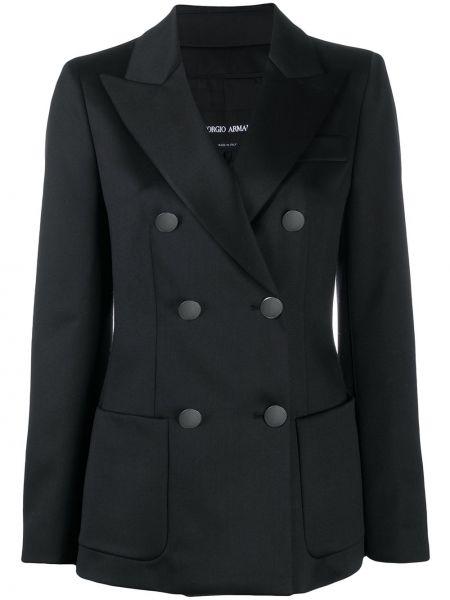 С рукавами черный классический пиджак двубортный Giorgio Armani