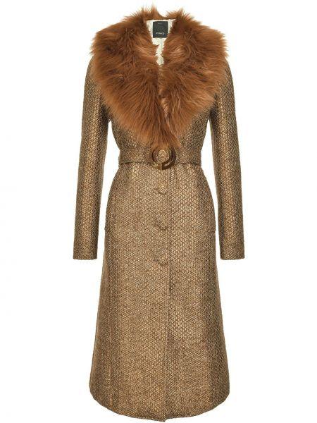 Brązowy bawełna wełniany długi płaszcz z długimi rękawami Pinko