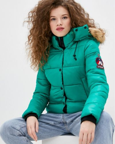 Утепленная зеленая куртка Superdry