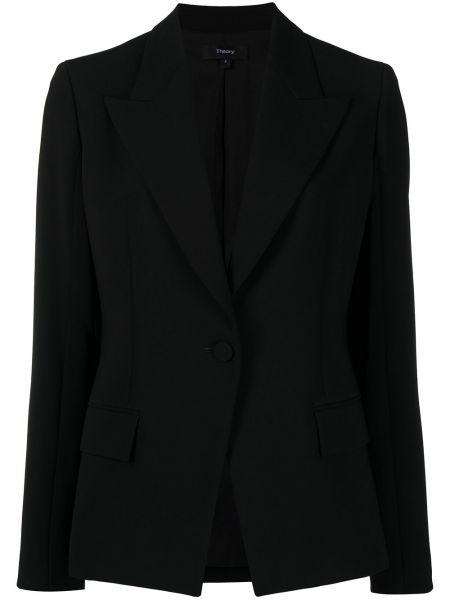 С рукавами однобортный черный удлиненный пиджак Theory