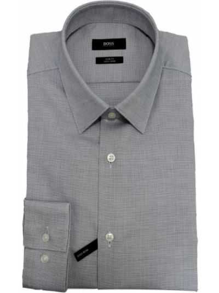 Szara koszula bawełniana Hugo Boss