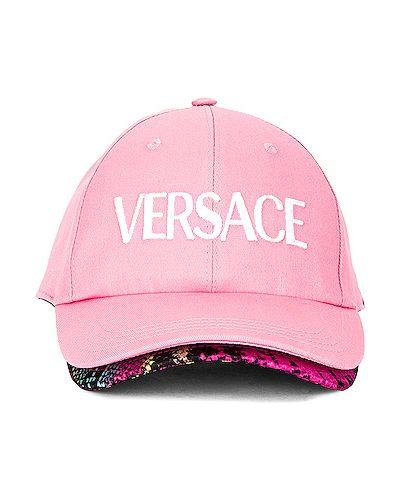 Różowy kapelusz z haftem na rzepy Versace