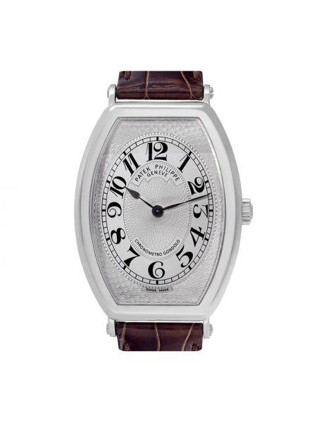 Кожаные коричневые часы прямоугольные Patek Philippe