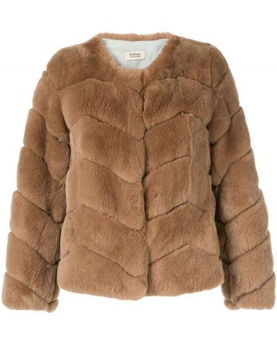 Коричневая длинная куртка круглая Yves Salomon Meteo