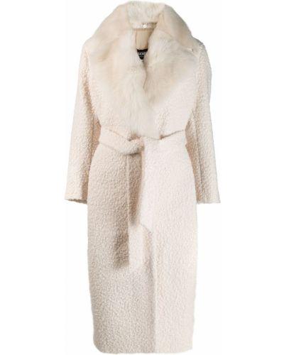 Белое длинное пальто с капюшоном Simonetta Ravizza