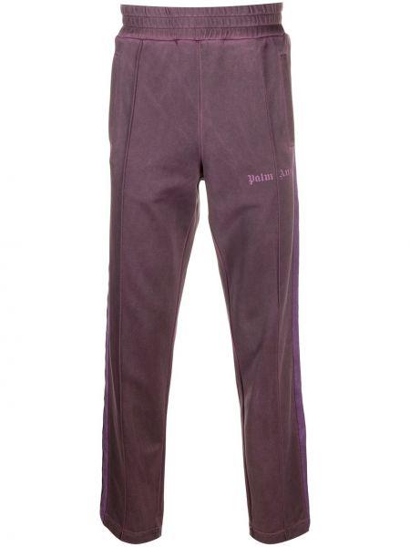 Fioletowy sportowe spodnie z kieszeniami z haftem Palm Angels